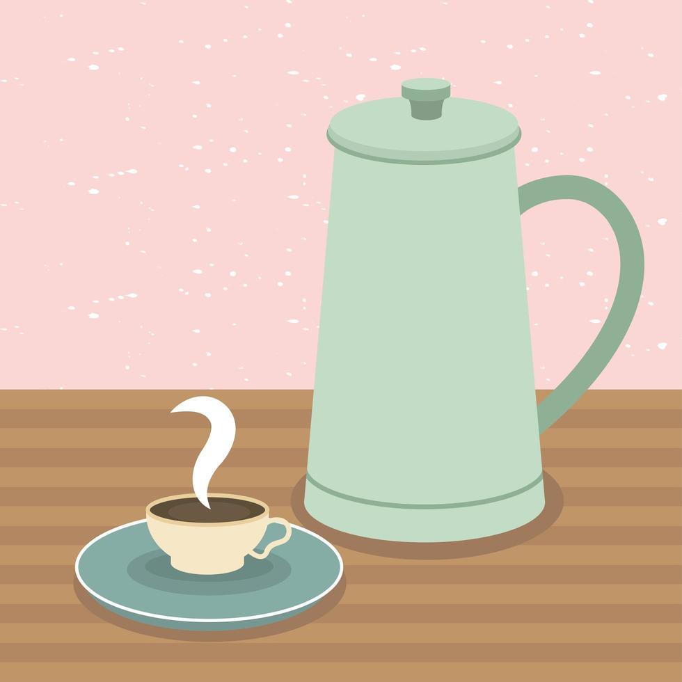 Kaffeetasse und Kanne auf Tischvektorentwurf vektor