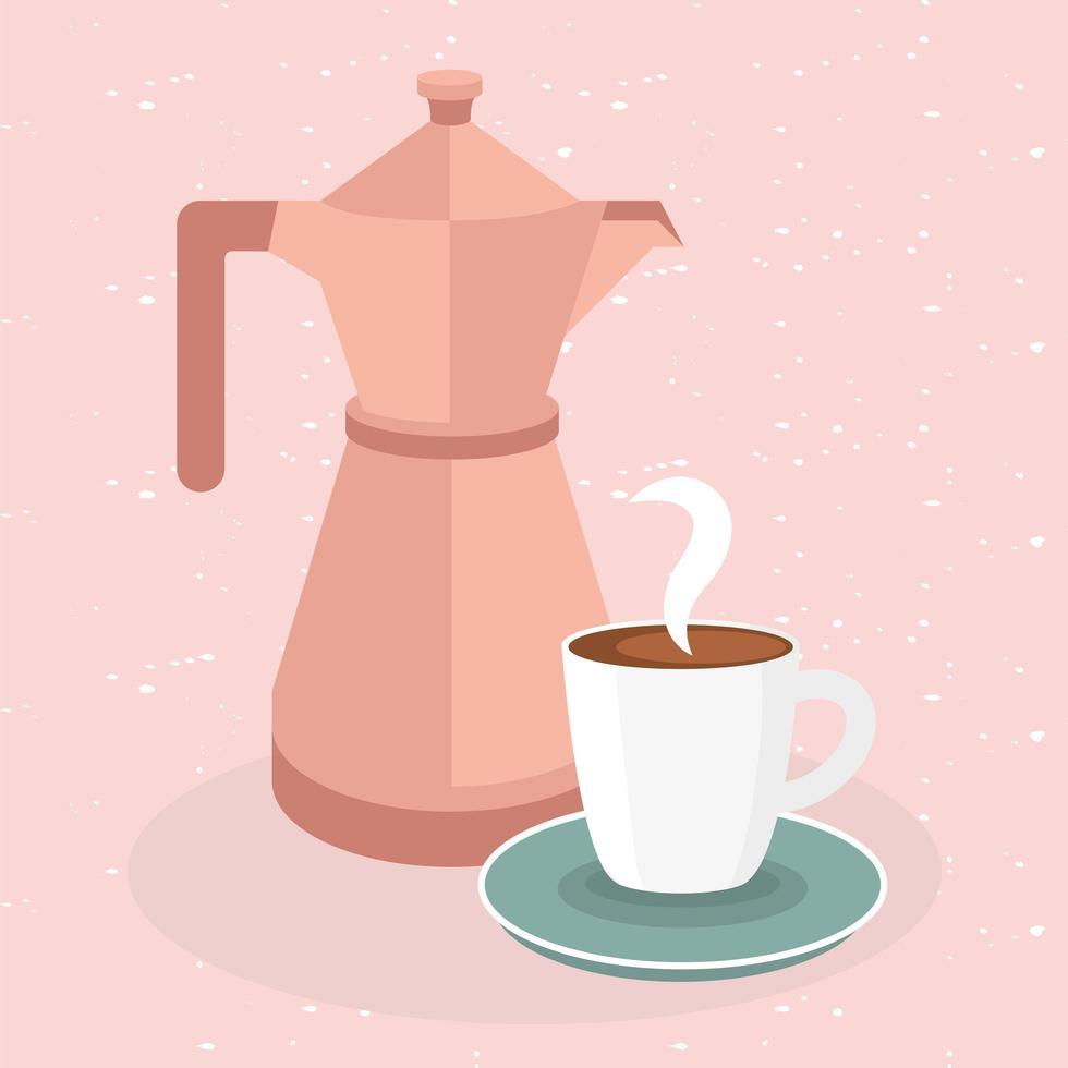 Kaffeetasse und Kanne auf rosa Hintergrundvektorentwurf vektor