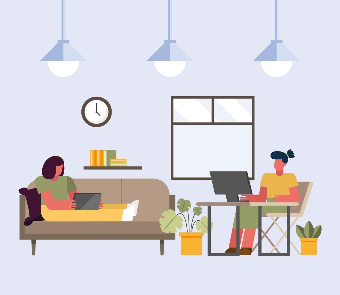 Teamwork-Konzept mit Frauen, die im Büro arbeiten vektor