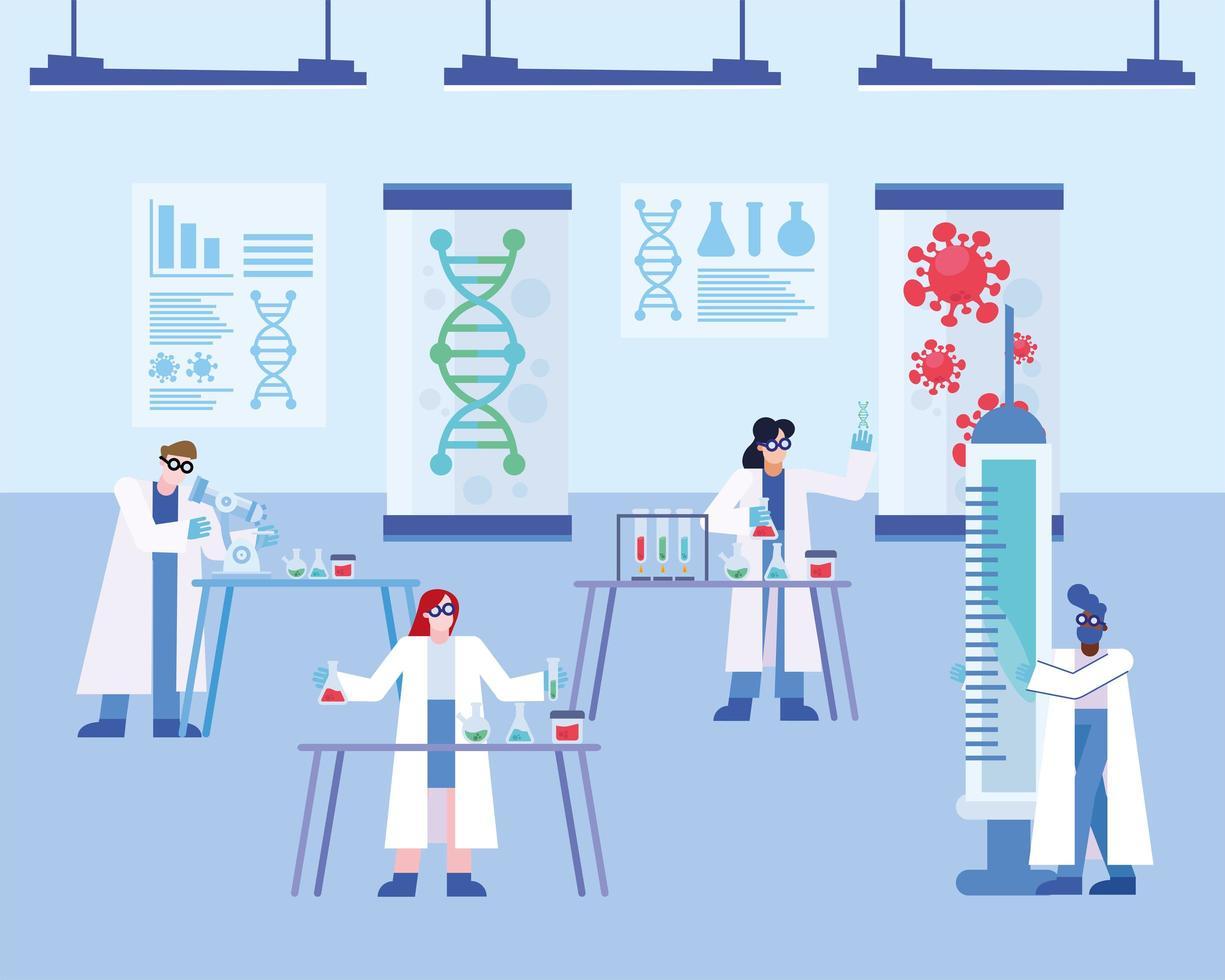 Covid 19-Virus-Impfstoffforschung mit Chemikern vektor