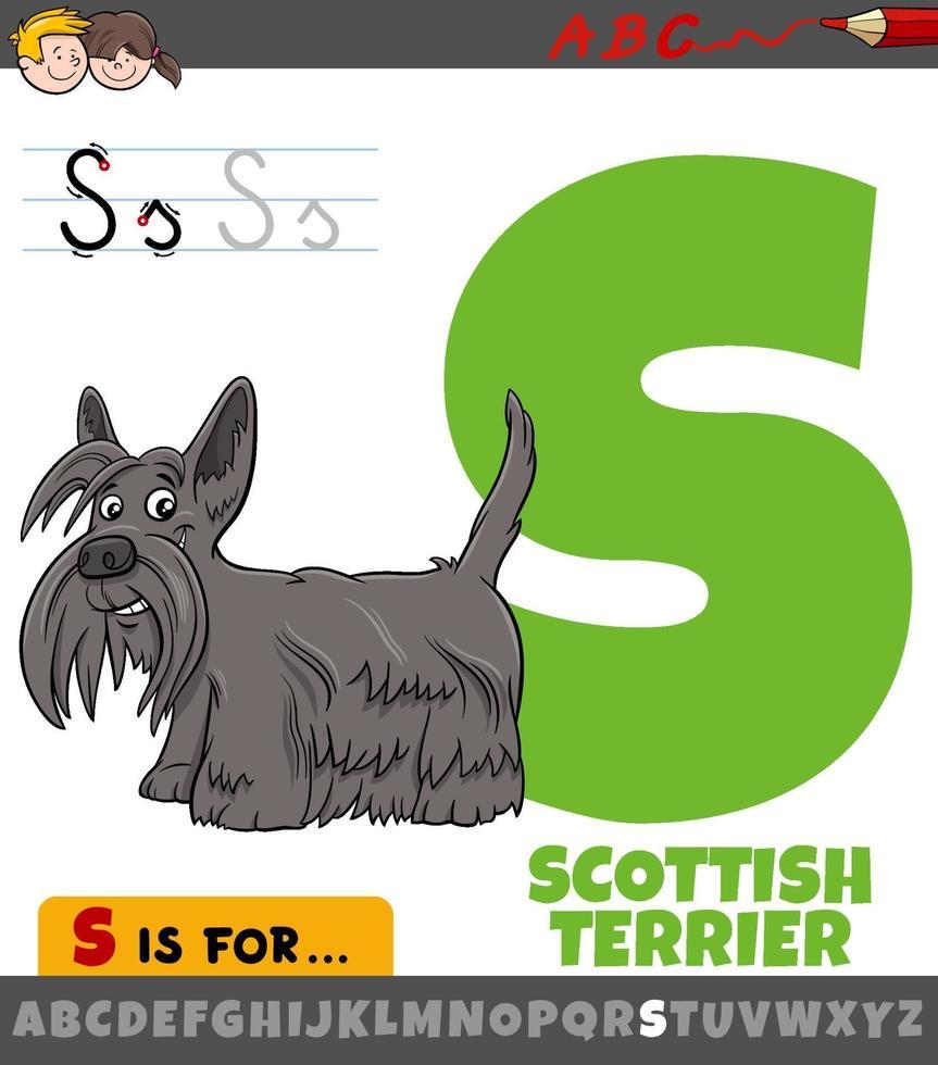 Brief s Arbeitsblatt mit Cartoon Scottish Terrier vektor