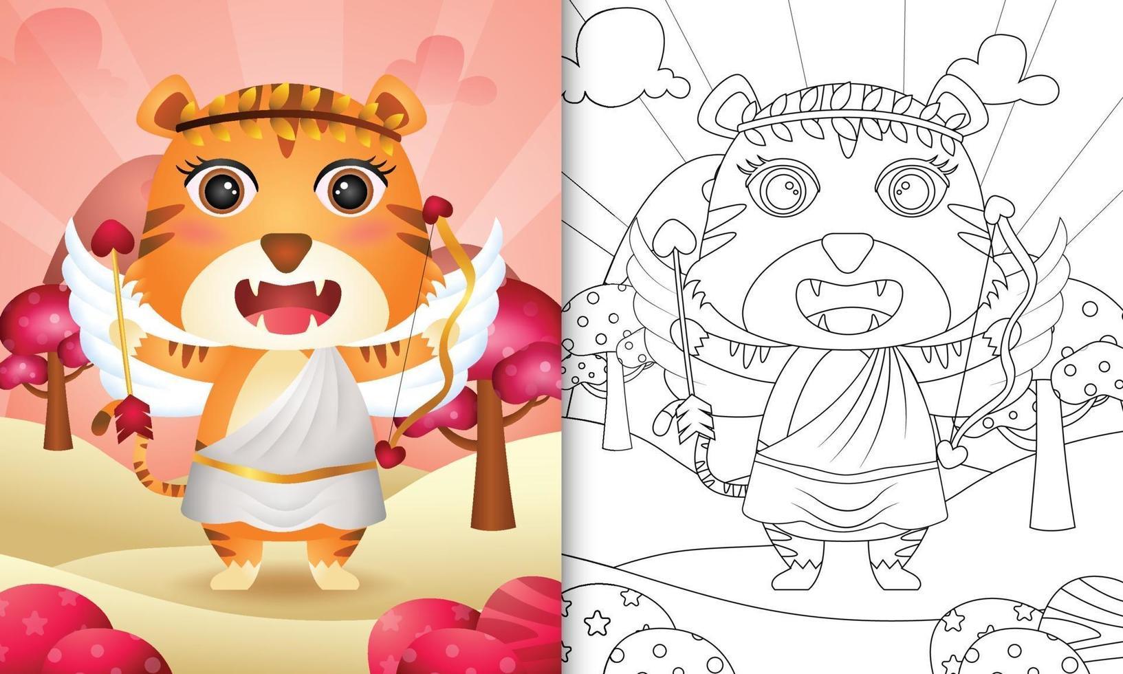 Malbuch für Kinder mit einem niedlichen Tigerengel unter Verwendung des themenorientierten Valentinstags des Amor-Kostüms vektor