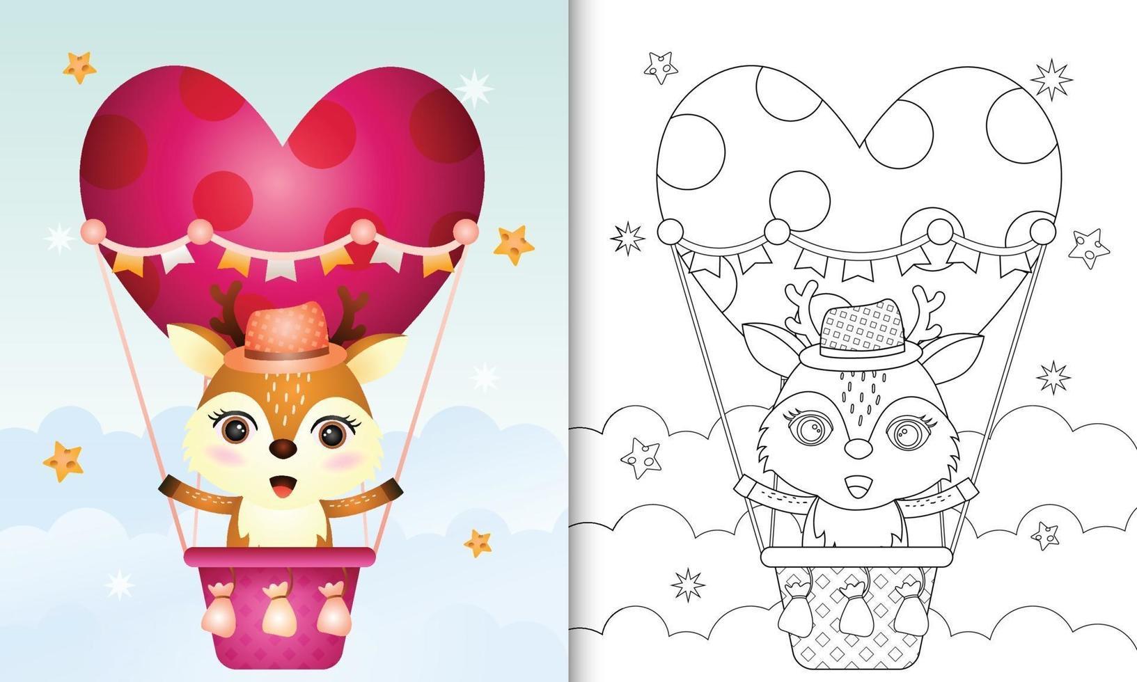 Malbuch für Kinder mit einem niedlichen Hirsch am Heißluftballon lieben themenorientierten Valentinstag vektor