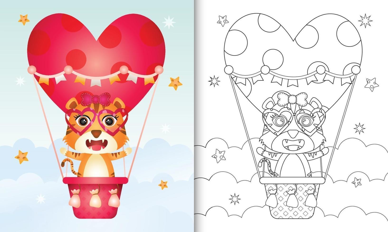 Malbuch für Kinder mit einer niedlichen Tigerfrau am Heißluftballon lieben themenorientierten Valentinstag vektor