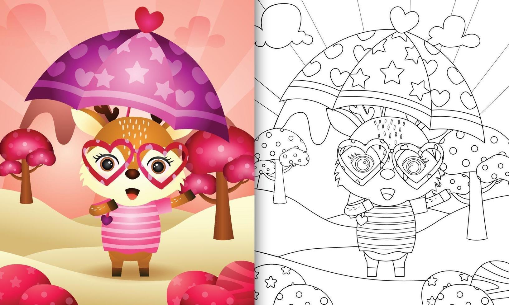 Malbuch für Kinder mit einem niedlichen Hirsch, der Regenschirm themenorientierten Valentinstag hält vektor