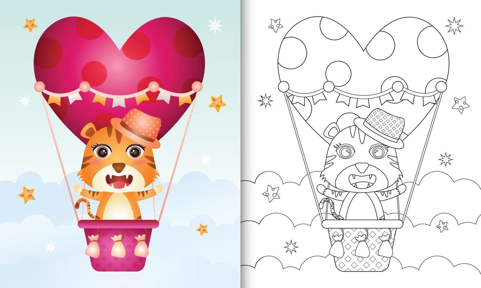 Malbuch für Kinder mit einem niedlichen Tiger männlich auf Heißluftballon Liebe themenorientierten Valentinstag vektor