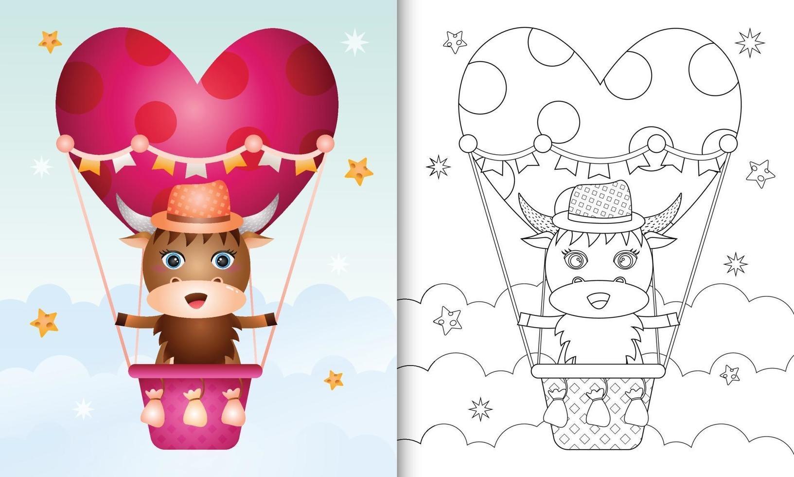 Malbuch für Kinder mit einem niedlichen Büffelmann am Heißluftballon lieben themenorientierten Valentinstag vektor