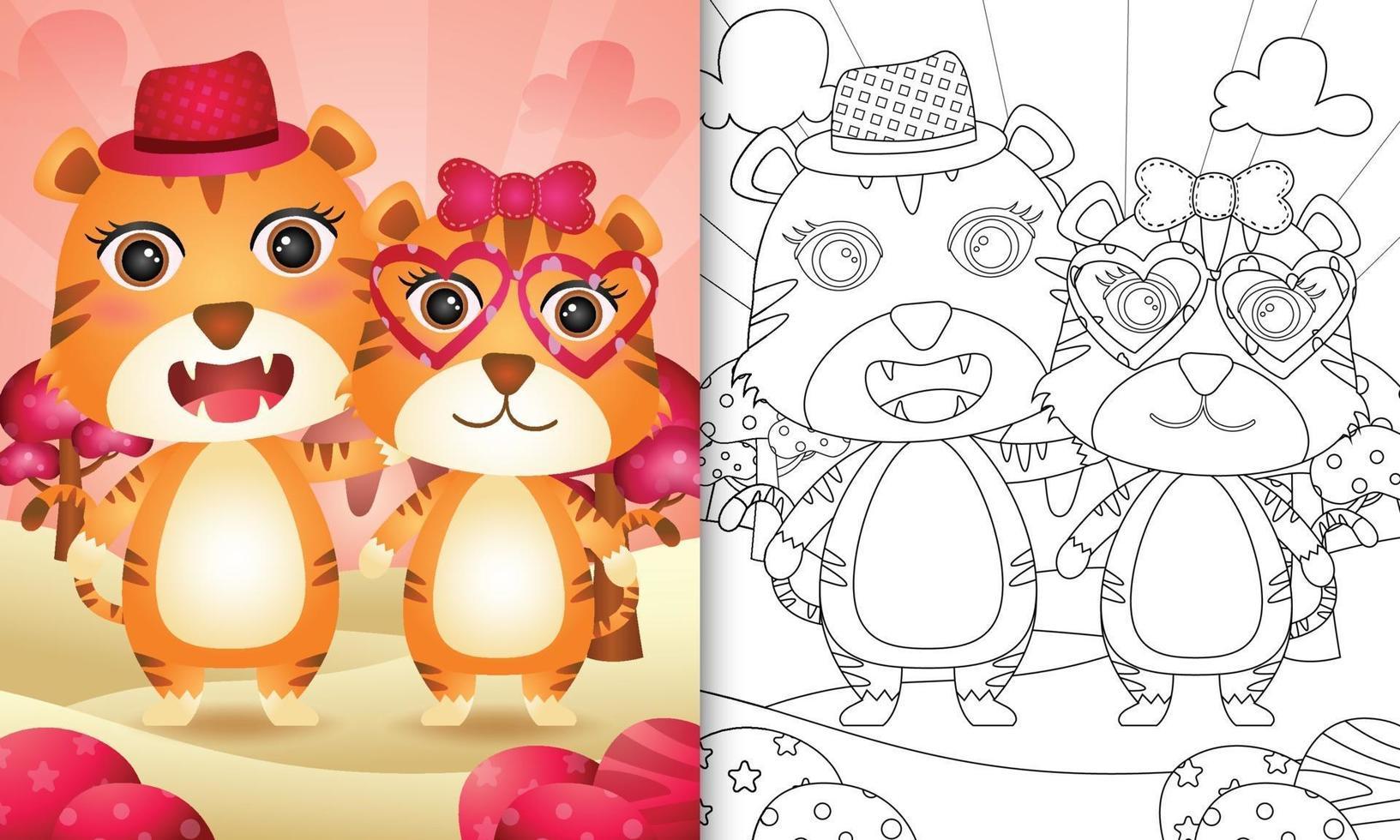 Malbuch für Kinder mit einem niedlichen Tigerpaar themenorientierten Valentinstag vektor
