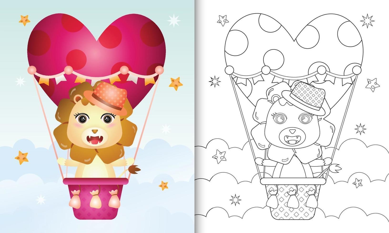Malbuch für Kinder mit einem niedlichen Löwenmann am Heißluftballon lieben themenorientierten Valentinstag vektor