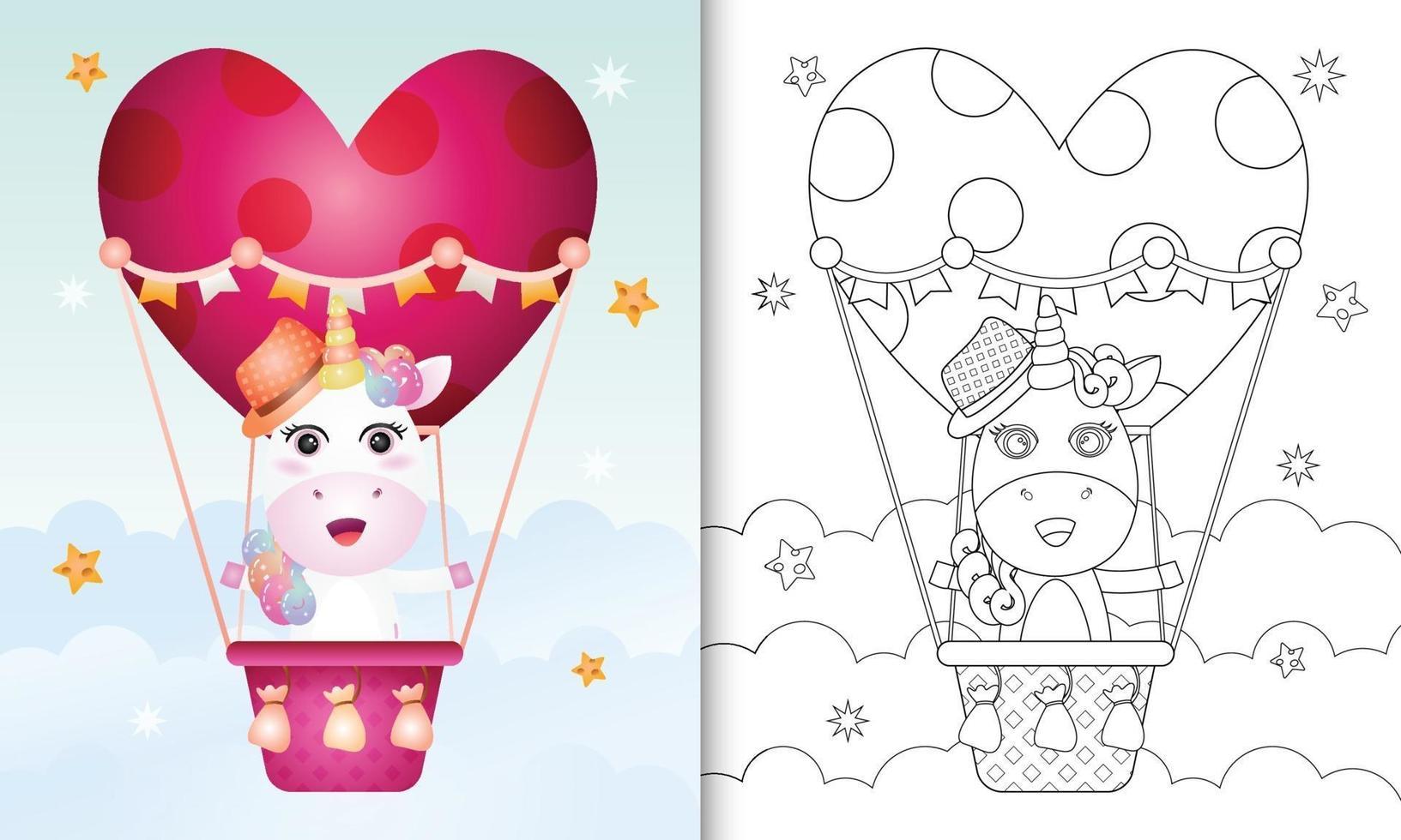 Malbuch für Kinder mit einem niedlichen Einhornmann am Heißluftballon lieben themenorientierten Valentinstag vektor