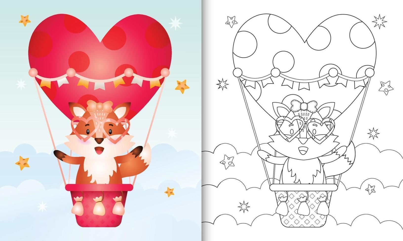 Malbuch für Kinder mit einer niedlichen Fuchsfrau am Heißluftballon lieben themenorientierten Valentinstag vektor