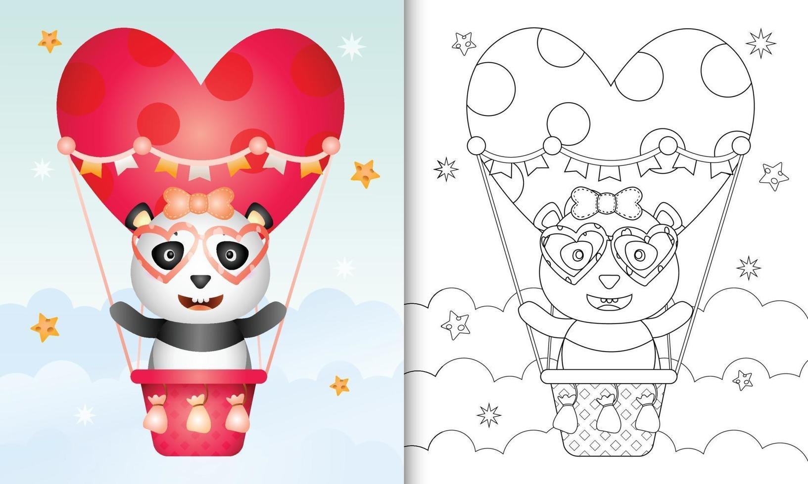Malbuch für Kinder mit einer niedlichen Panda Frau auf Heißluftballon Liebe themenorientierten Valentinstag vektor