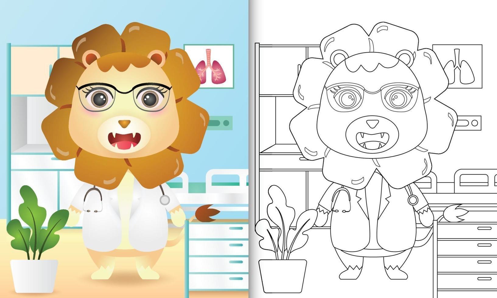 Malbuch für Kinder mit einer niedlichen Löwenarztcharakterillustration vektor