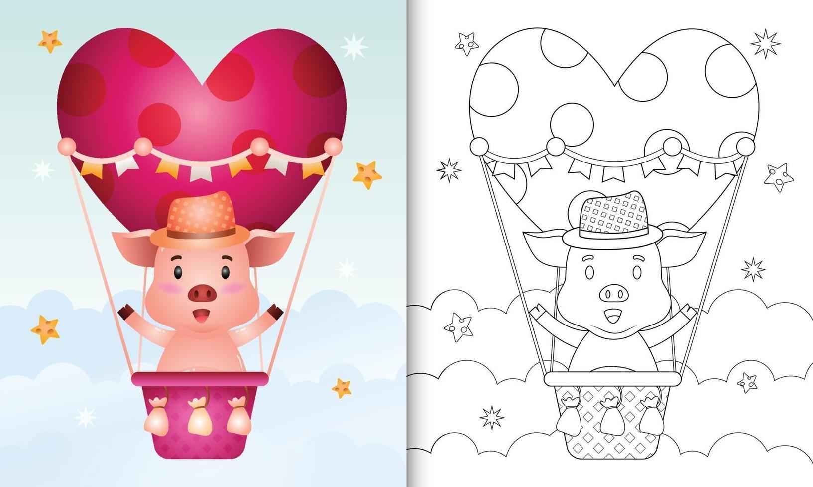 Malbuch für Kinder mit einem niedlichen Schwein männlich auf Heißluftballon Liebe themenorientierten Valentinstag vektor
