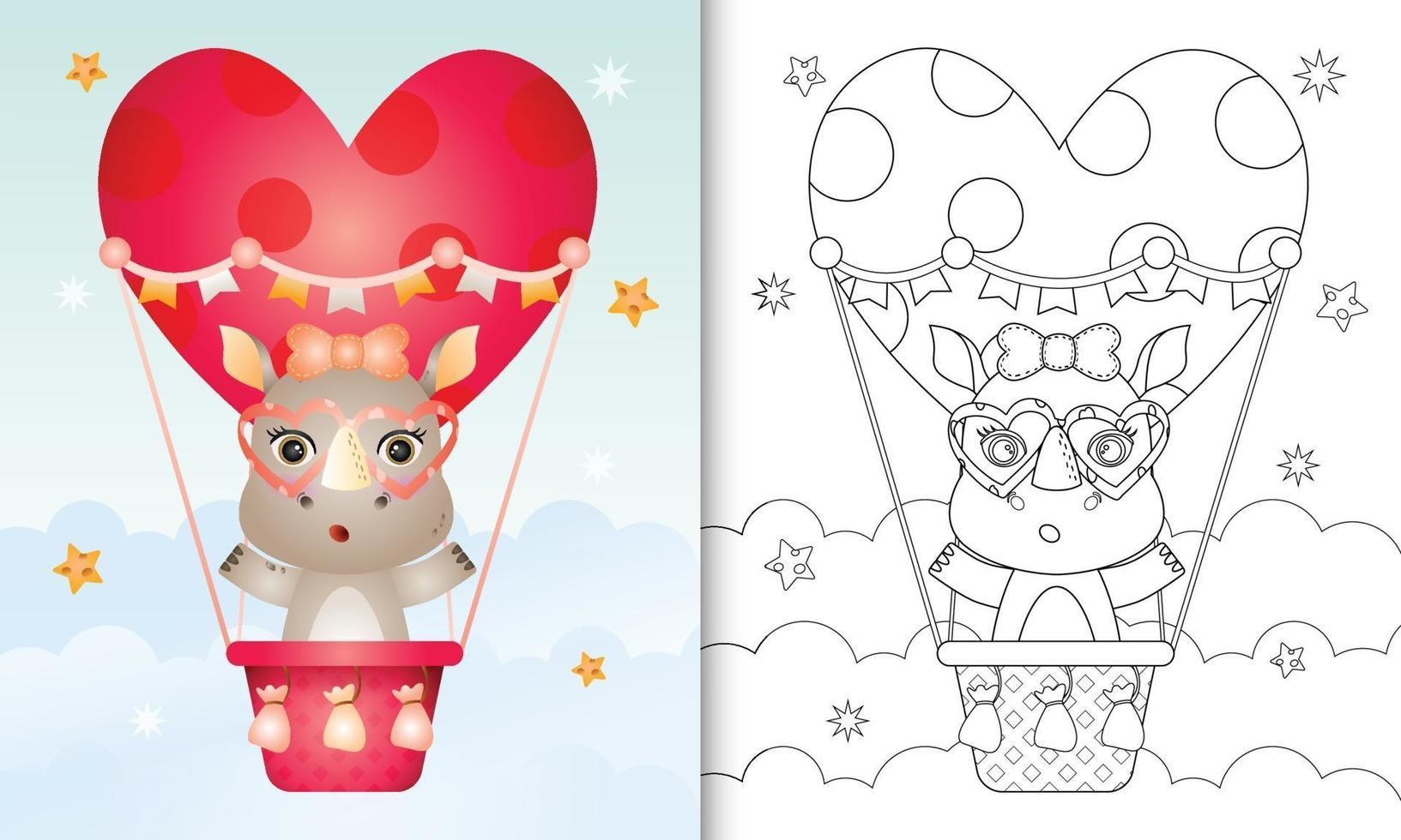 Malbuch für Kinder mit einer niedlichen Nashornfrau auf Heißluftballon lieben themenorientierten Valentinstag vektor