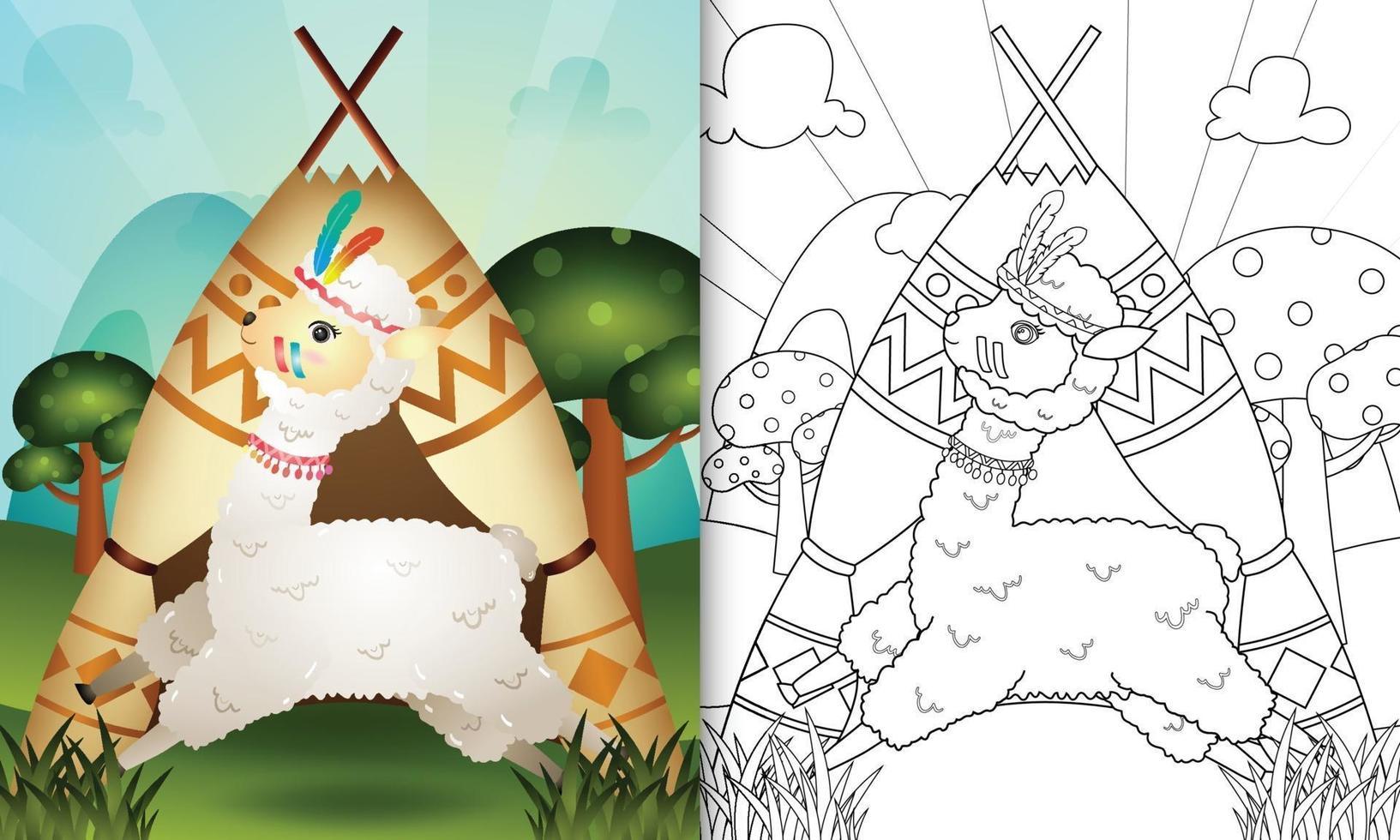 Malbuch für Kinder mit einer niedlichen Stammes-Boho-Alpaka-Charakterillustration vektor