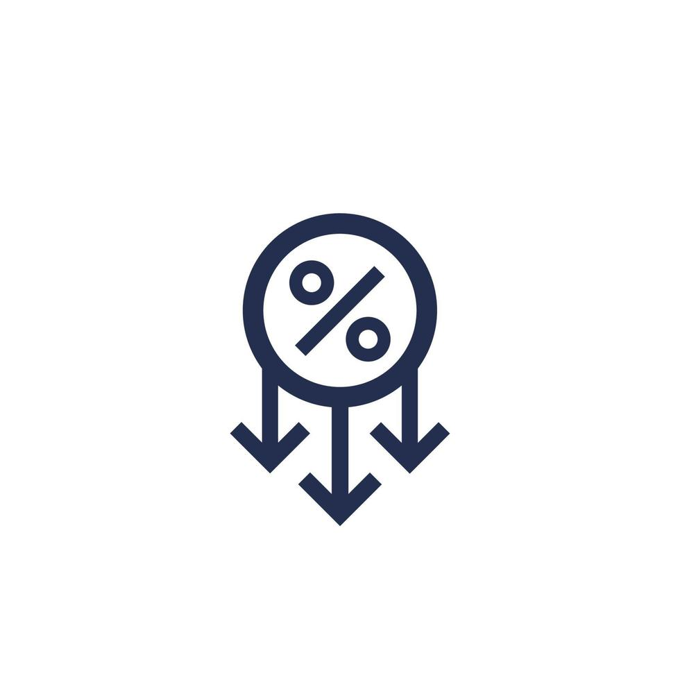 vinstminskning, procent ner ikon vektor