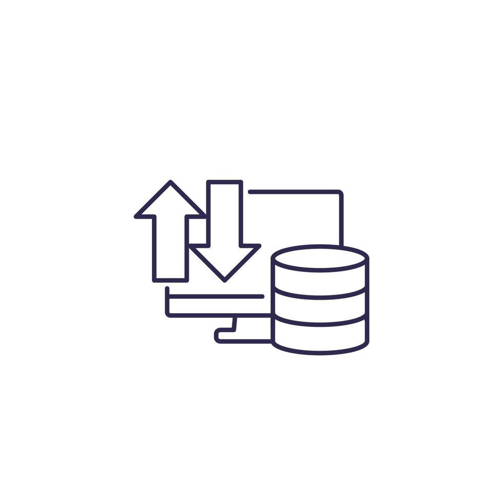 Datenbank und Computer, Datenübertragungssymbol, Linienvektor vektor