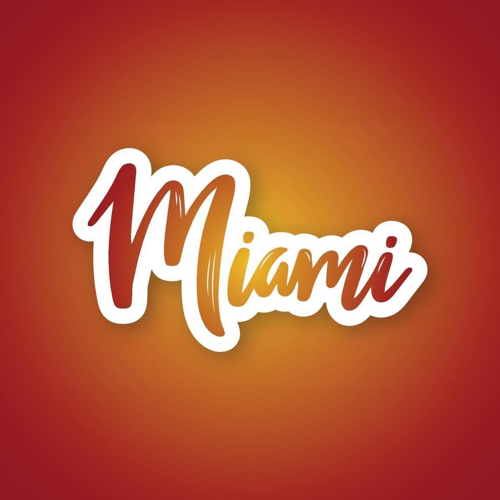 Miami - handgeschriebener Name der US-Stadt. Aufkleber mit Beschriftung im Papierschnittstil. vektor