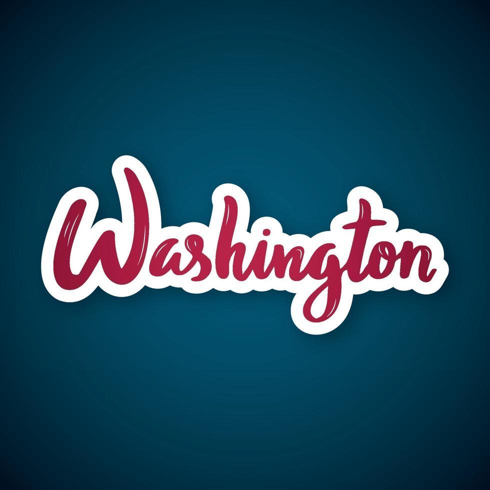 Washington - handgeschriebener Name der US-Hauptstadt. Aufkleber mit Beschriftung im Papierschnittstil. vektor