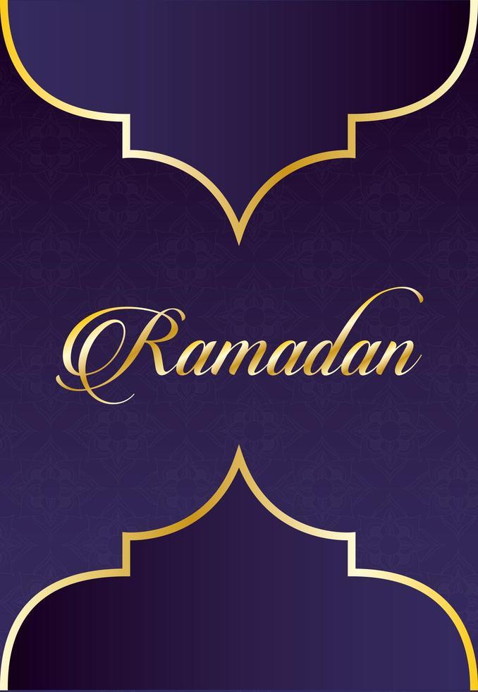 ramadan kareem bokstäver med gyllene ram dekoration vektor