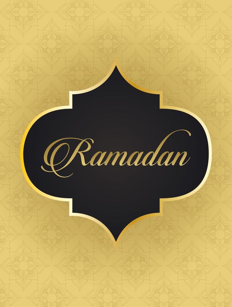 Ramadan Kareem Schriftzug mit goldener Rahmendekoration vektor
