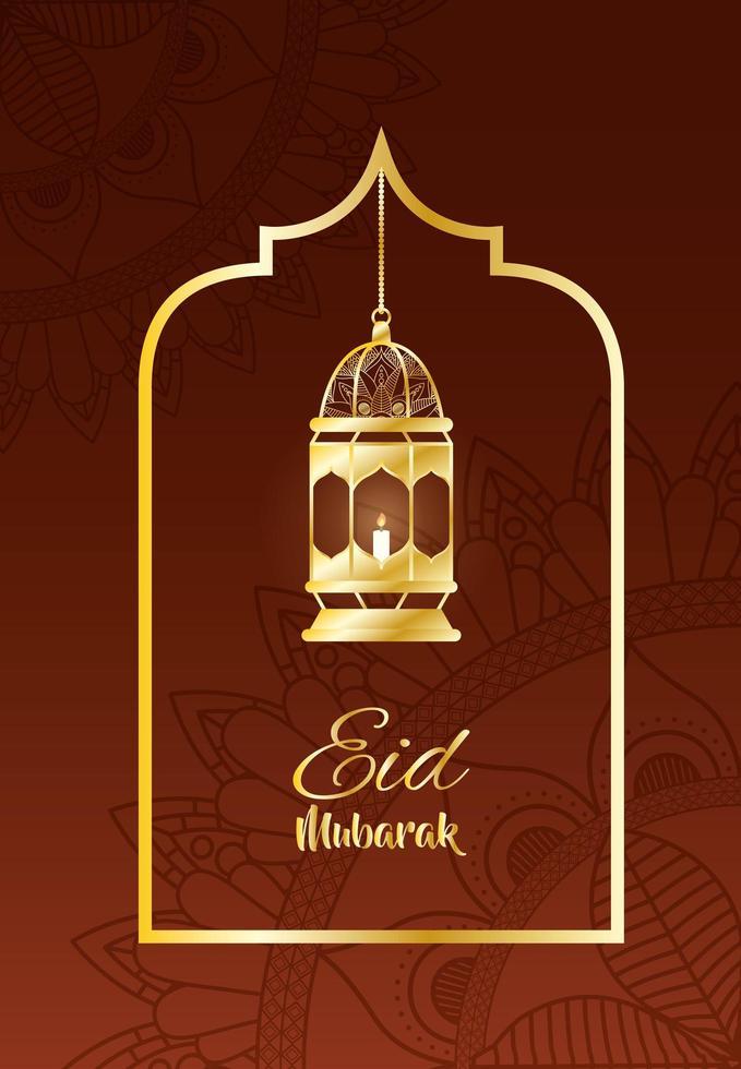 goldene Lampe Ramadan Kareem Dekoration vektor