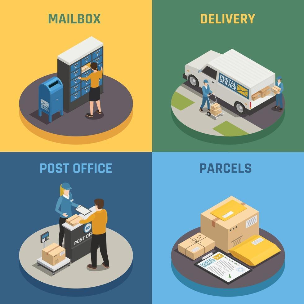 postkontors posttjänst isometrisk 2x2 vektor