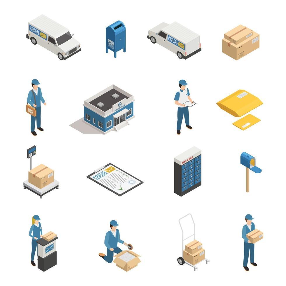 postkontor posttjänst isometriska ikoner vektor