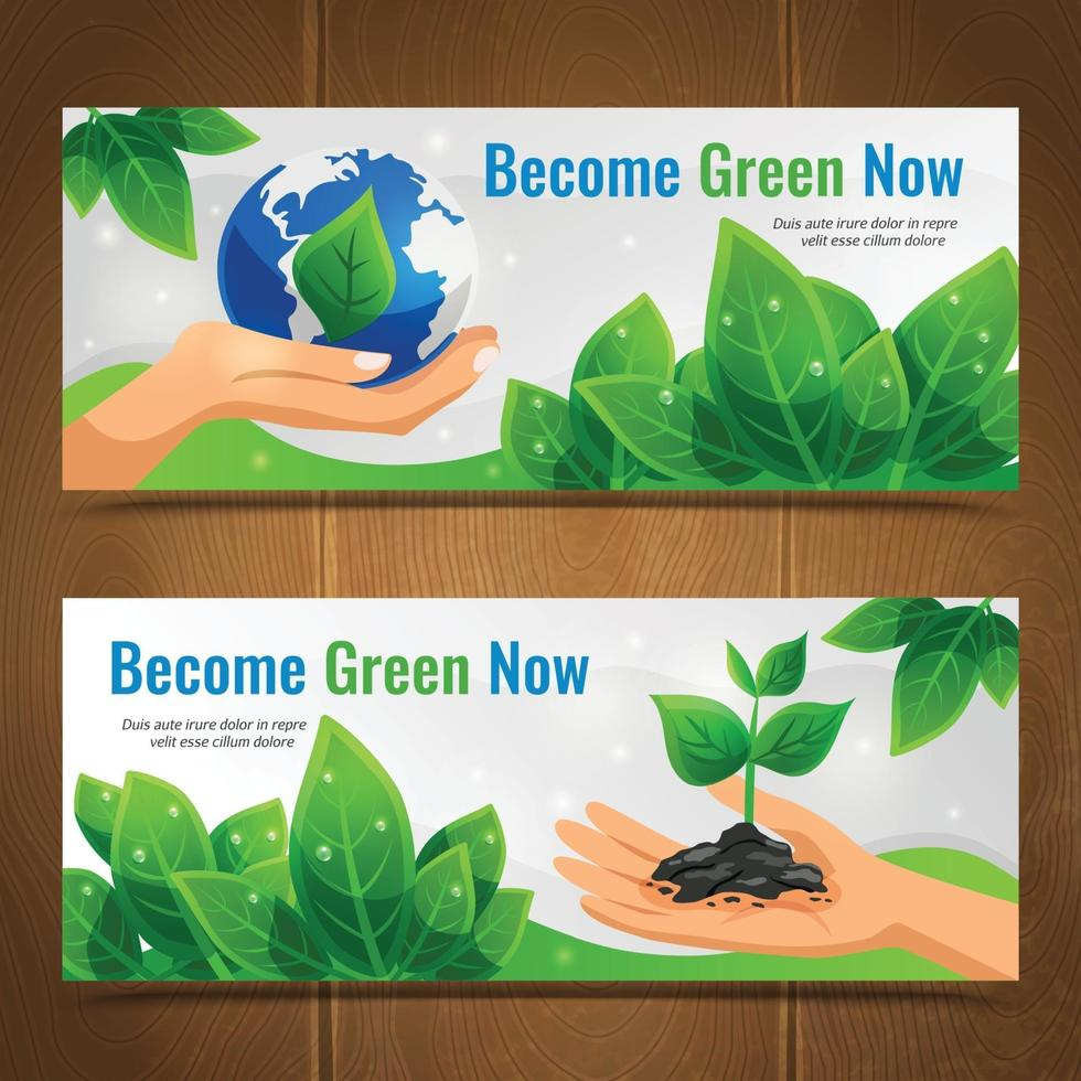 ekologi horisontella banners vektor
