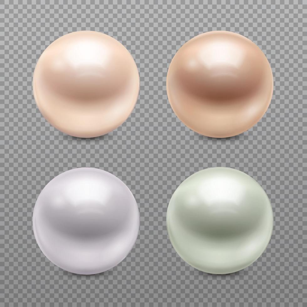 Perlen realistisches Set vektor