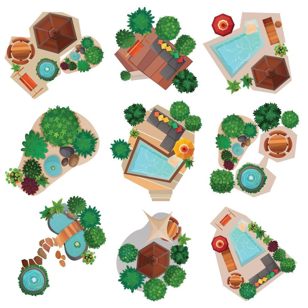 landskap design ovanifrån kompositioner set vektor