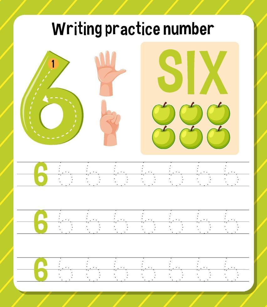 skrivpraxis nummer 6 kalkylblad vektor