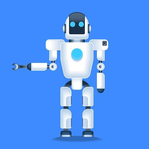 Mechaniker-Roboter, zum der menschlichen kompakten Modell-Illustration zu helfen vektor