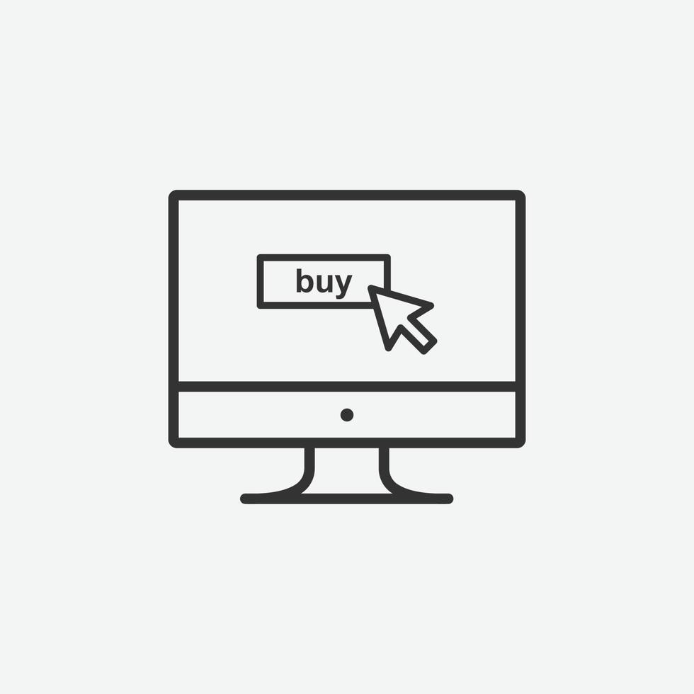 Online-Shopping-Vektor isoliert Symbol auf grauem Hintergrund vektor