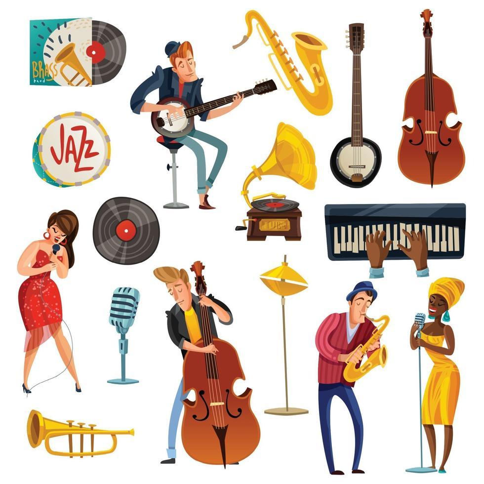 jazzmusik tecknad uppsättning vektor