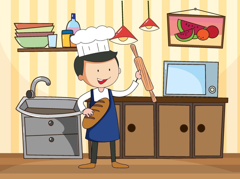 kock i köksscenen med utrustning vektor