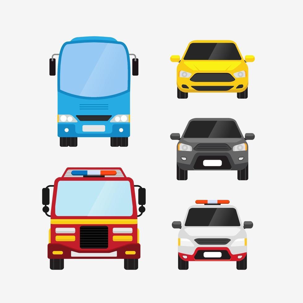 Autos Vektor Set Vorderansicht persönliche und öffentliche Verkehrsmittel Vektor-Illustration