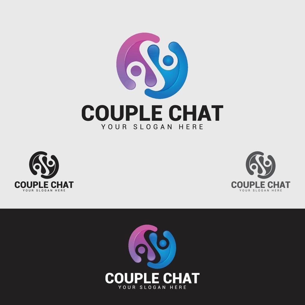 par chatt logotyp formgivningsmall vektor