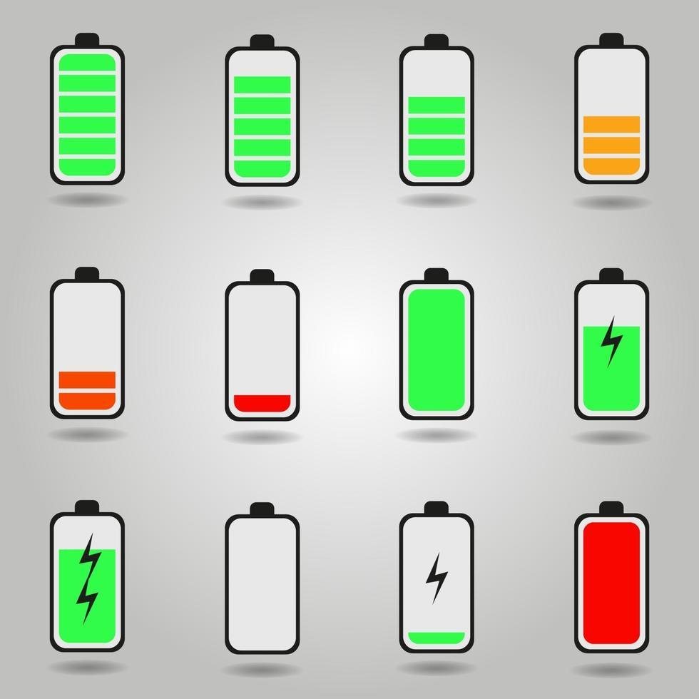 Symbole für den Ladezustand des Akkus des flachen Telefons festgelegt vektor