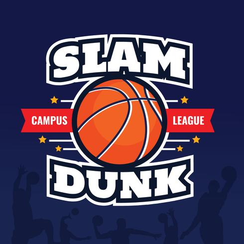 Basket Slam Dunk Badgesaffisch vektor