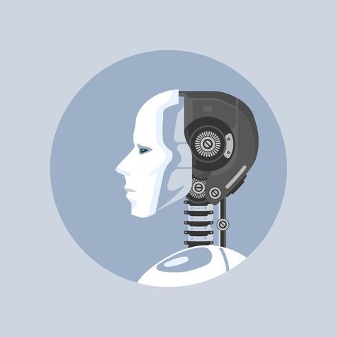 Artificiell intelligens Robot Style Vector Illustration