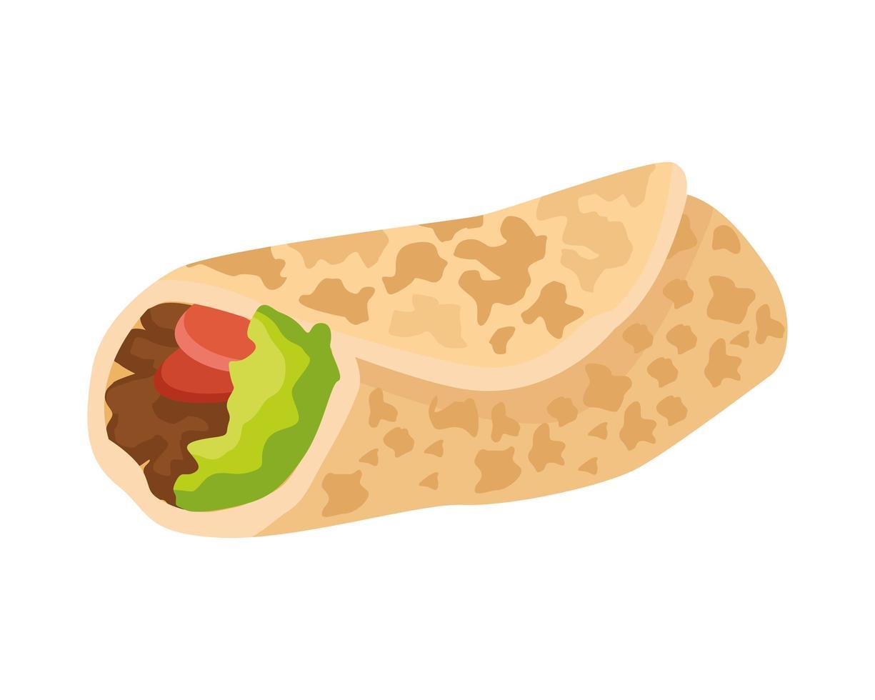 leckeres traditionelles mexikanisches Burrito-Essen vektor