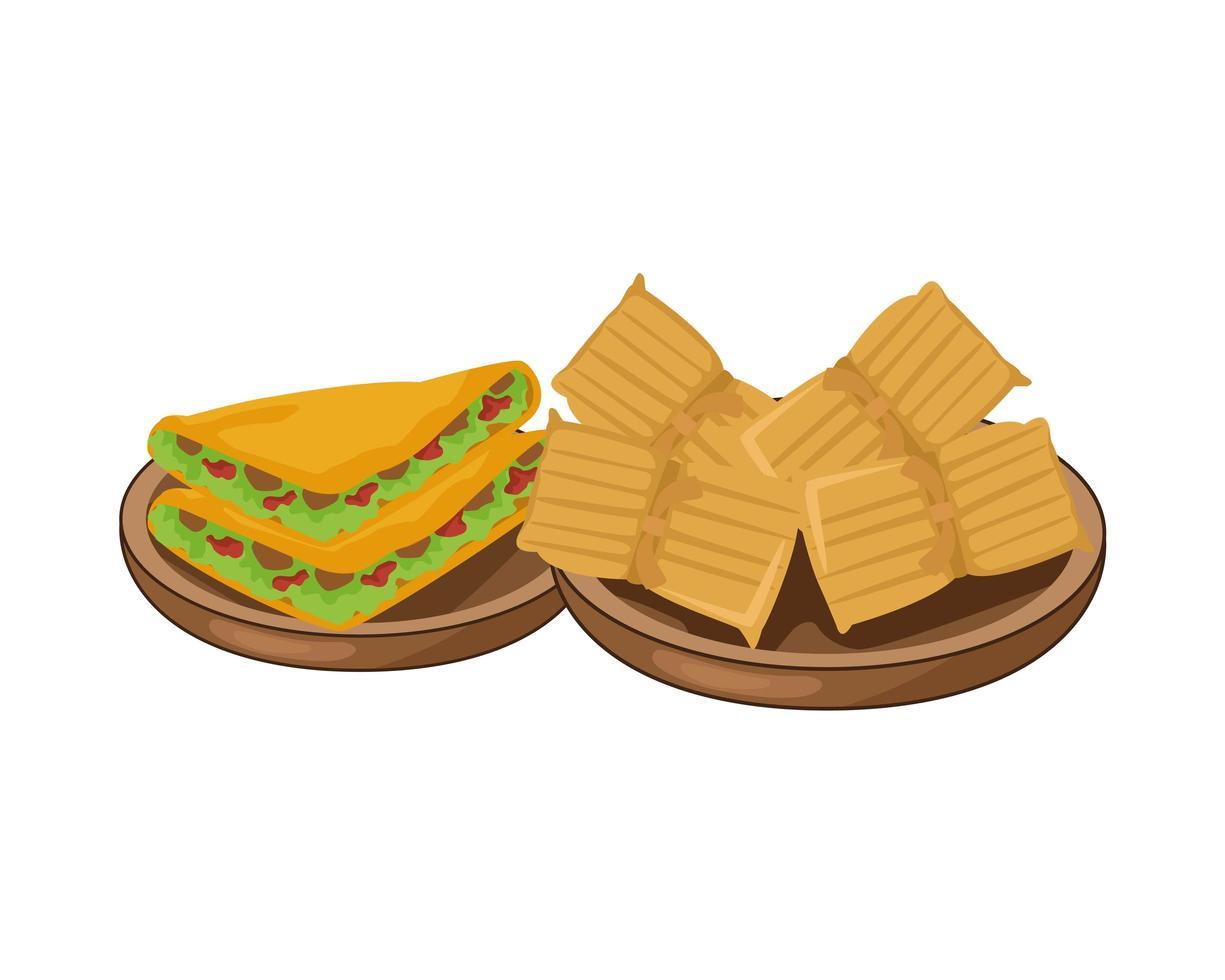 Quesadillas und Nachos leckeres mexikanisches Essen vektor