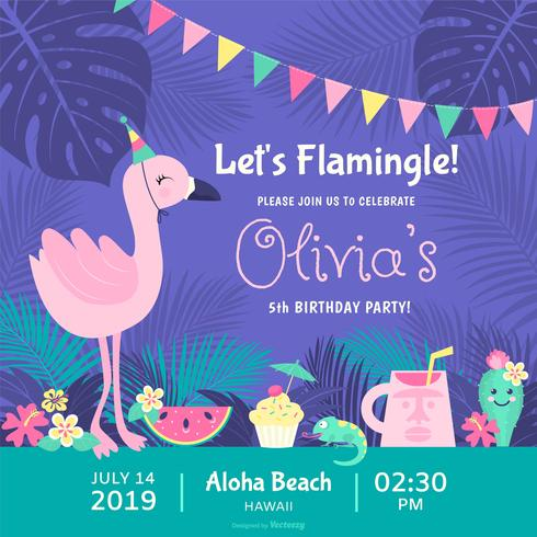 Låt oss Flamingle Polynesian Födelsedagsfest Vector Invitation Card