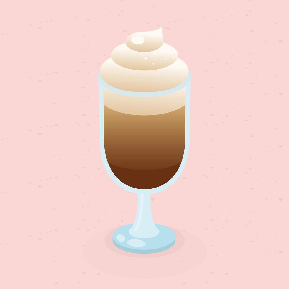 Kaffeetasse mit Sahne auf rosa Hintergrundvektorentwurf vektor