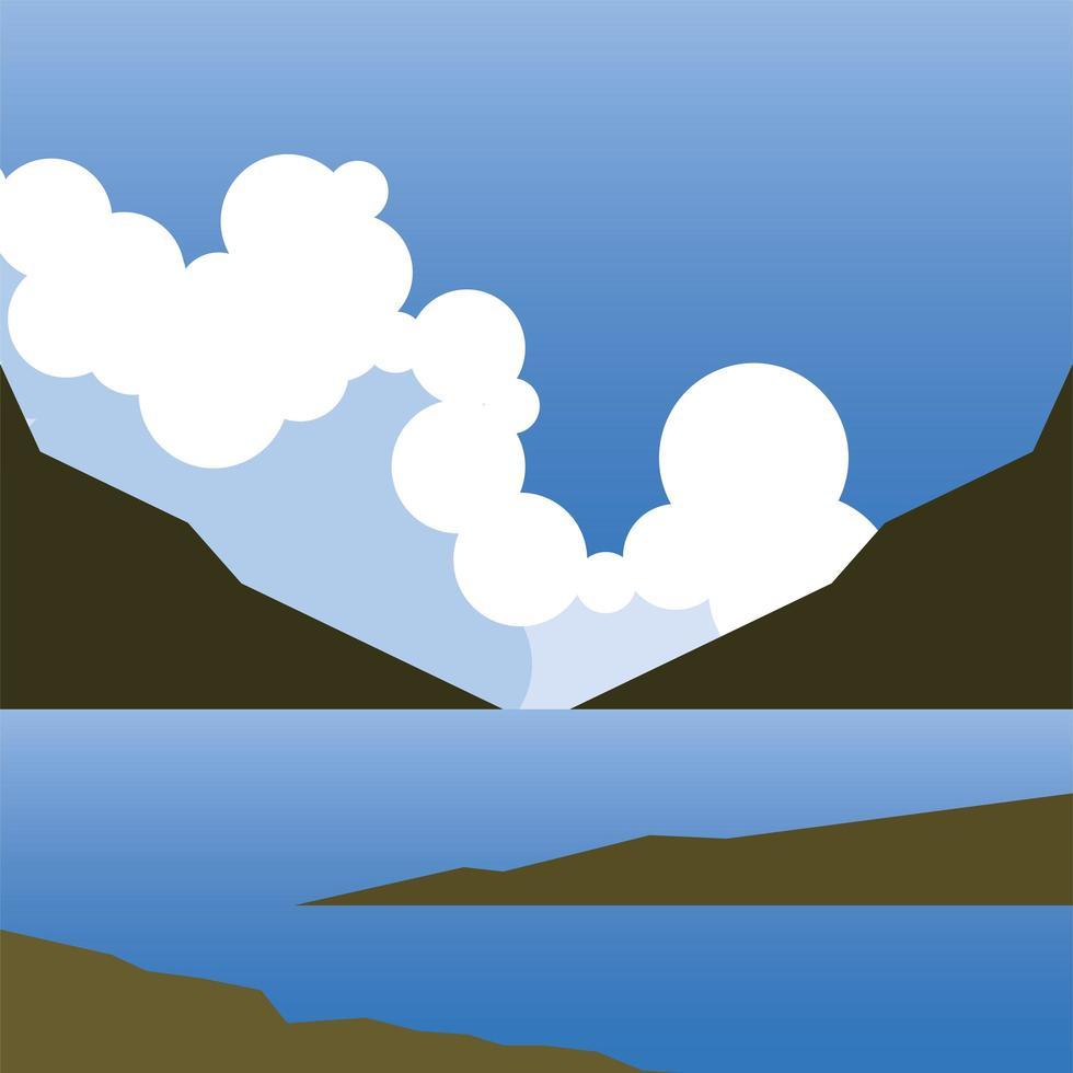 Landschaft des Bergsees und des Wolkenhintergrundes vektor