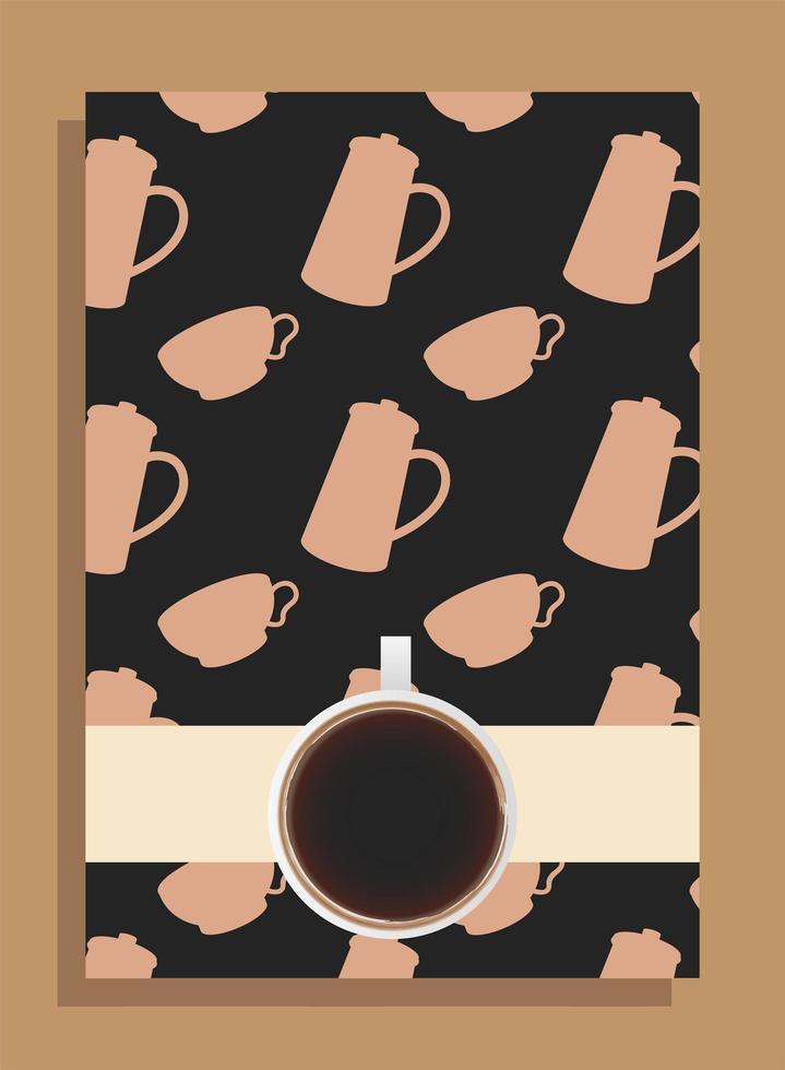 Kaffeetasse auf schwarzem Plakat mit Töpfen und Tassenvektorentwurf vektor