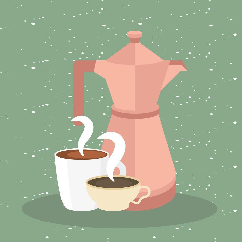 Kaffeetassen und Kanne auf grünem Hintergrundvektorentwurf vektor