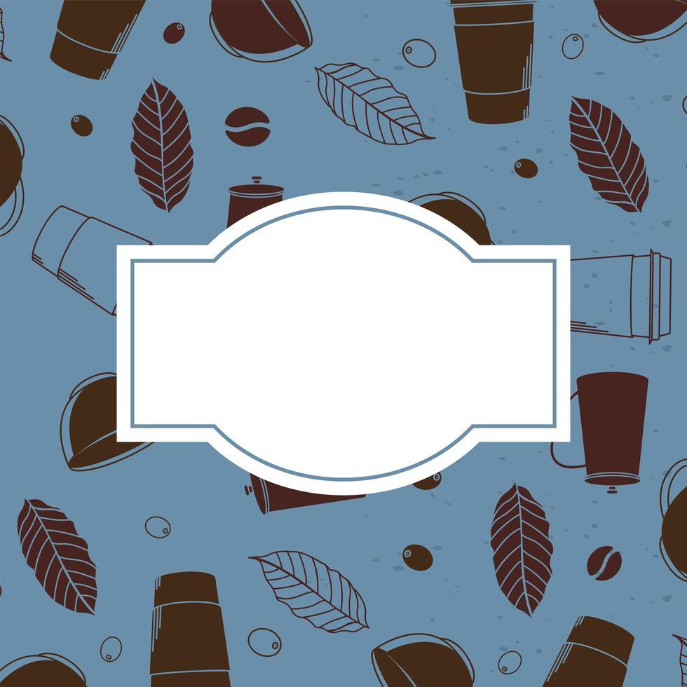 Kaffeetassen und hinterlässt Hintergrund mit Platz für Textvektordesign vektor